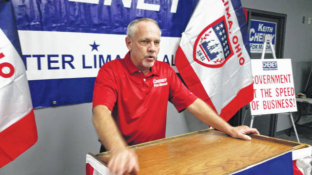 Keith Cheney, who is challenging incumbent David Berger for mayor of Lima, holds an open house Sunday.