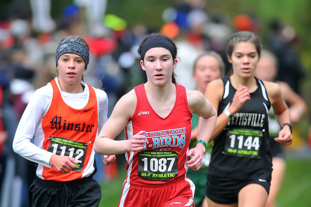 Minster's Mackenzie Bohman, left, and Lima Central Catholic'sl Emily Sreenan compete during Saturday's Regional Cross Country at Hedges Boyer Park in Tiffin.