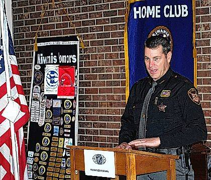 Allen County Sheriff Matt Treglia was the guest speaker at Tuesday's meeting of the Kiwanis Club of Lima.