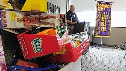 William Lewis announces the kickoff of this year's Toys For Tots campaign Wednesday at the Lima Noon Optimist Club.