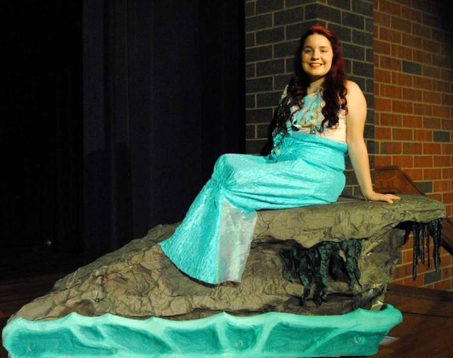 "Photo caption: Crestview High School students continue to rehearse their show ""The Little Mermaid"" being performed November 11 and 12. R. Daugherty plays the role of ""Ariel"", the main character in the musical based on the classic Disney love story. Submitted"