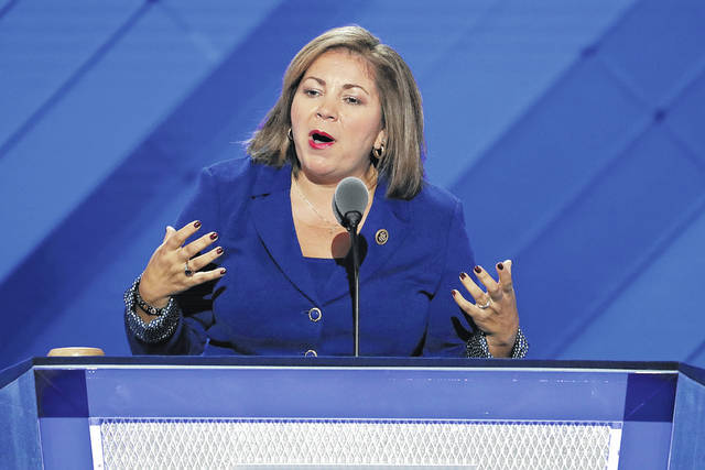 """FILE - In this July 25, 2016 file photo, Rep. Linda Sanchez, D-Calif., speaks during the first day of the Democratic National Convention in Philadelphia. One current and three former female members of Congress tell The Associated Press they have been sexually harassed or subjected to hostile sexual comments by their male colleagues while serving in the House. """"When I was a very new member of Congress in my early thirties, there was a more senior member who outright propositioned me, who was married, and despite trying to laugh it off and brush it aside it would repeat. And I would avoid that member,"""" said Sanchez."""