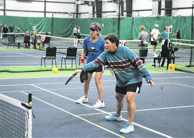 Sharon Hall (left) from Middletown, Ohio and her pickleball partner Pam Patrus from West Chester, Ohio made the trek to Lima to participate in the 2017 Fall Classic held at Westwood Tennis and Fitness Center over the weekend.
