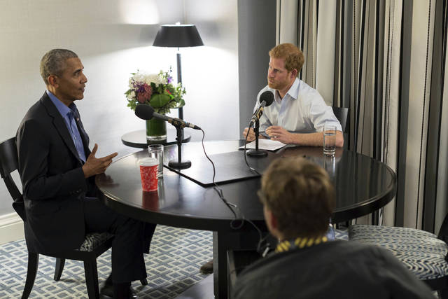 Britain's Prince Harry, right, interviews former US President Barack Obama as part of his guest editorship of BBC Radio 4's Today program, which broadcast Wednesday. The interview was recorded in Toronto in September 2017 during the Invictus Games.