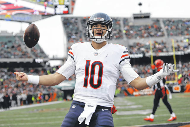 Chicago quarterback Mitchell Trubisky celebrates after scoring a touchdown Sunday against the Bengals in Cincinnati.