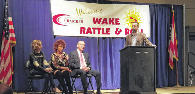 Panelists Jennifer Velasquez , Elizabeth Leis and Ed Kirk answer business-related questions from host Marc Bowker, during Wake, Rattle and Roll.