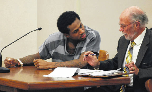 Deamonte Godsey, 23, of Columbus, was sentenced Monday morning to eight years in prison for breaking the arm of his girlfriend during a domestic dispute earlier this year. J Swygart | The Lima News