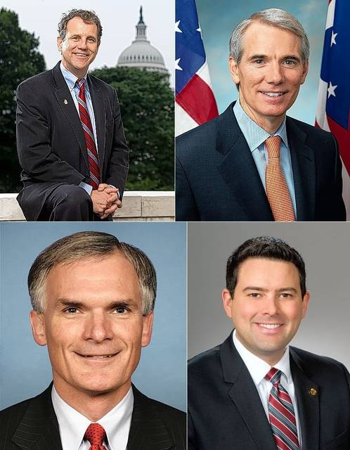 Clockwise, from top left, Sherrod Brown, Rob Portman, Robert McColley, and Bob Latta