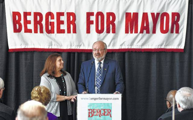 1. With his wife Linda at his side, Lima Mayor David Berger took questions during a March campaign event. Berger held off Keith Cheney's campaign to win his eighth term as Lima's mayor in November.