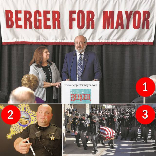 The top three stories of 2017 in The Lima News included 1. David Berger's election to an eighth term as Lima mayor, 2. the continued fight with opioids in the region, and 3. three different sheriffs during the year after a resignation and a death.