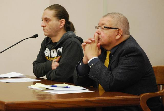 J Swygart   The Lima News Jonathon White of Lima, shown with attorney Joe Benavidez, pleaded guilty to reduced charges Monday for his role in the illegal dumping of scrap automobile tires in the south part of Lima.