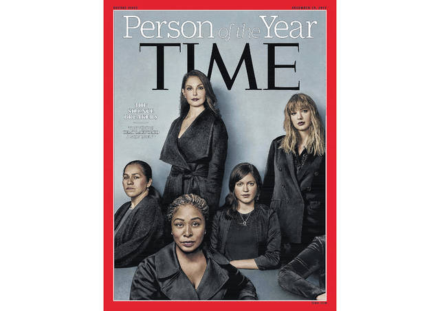 "This image provided by Time magazine, shows the cover of the magazine's Person of the Year edition as ""The Silence Breakers,"" those who have shared their stories about sexual assault and harassment. The magazine's cover features Ashley Judd, Taylor Swift, Susan Fowler and others who say they have been harassed."