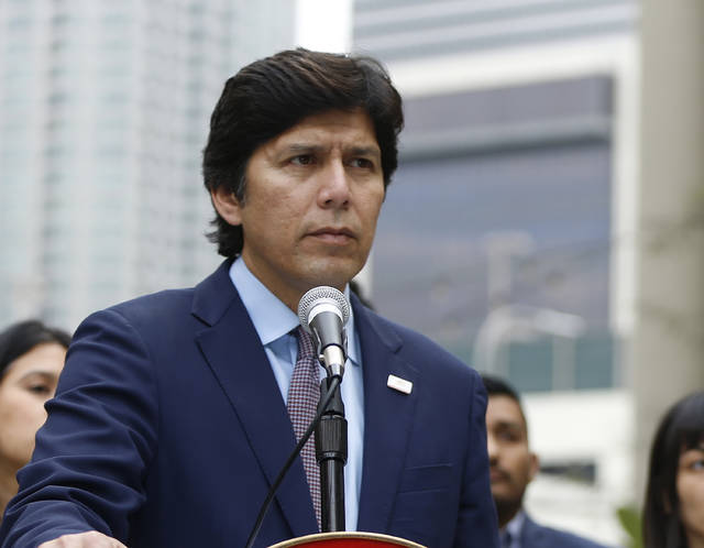 FILE - This Dec. 20, 2017 file photo shows California Senate President pro Tempore Kevin de Leon (D-Los Angeles) in Los Angeles. In the wake of the new federal tax plan, de Leon, who is running for the U.S. Senate, said he planned to introduce legislation that would allow people to make charitable donations to the state instead of paying income taxes. (AP Photo/Damian Dovarganes, File)