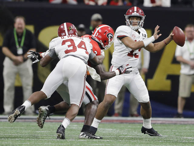 Alabama quarterback Tua Tagovailoa drops back to pass during the second half of the NCAA college football playoff championship game against Georgia Monday.