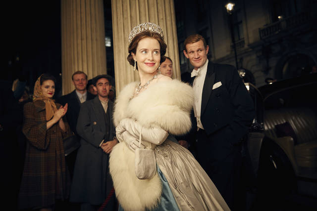"This image released by Netflix shows Claire Foy, center, and Matt Smith, right, in a scene from ""The Crown."" Lovers of everything British have plenty of binging opportunities coming up, including a new documentary on Queen Elizabeth II's coronation, a new season of a PBS series and several options in theaters and streaming services until a new season of ""The Crown"" is released."
