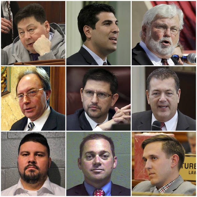 This combination of photos shows the numerous state lawmakers across the country who have been accused of sexual misconduct or harassment in the past year as of January 2018, who have resigned from office. Top row from left are Alaska Rep. Dean Westlake, California Assemblyman Matt Dababneh and Florida Sen. Jack Latvala. Middle row from left are Mississippi Rep. John Moore, Nevada Sen. Mark Manendo and Oklahoma Rep. Dan Kirby. Bottom row from left are Oklahoma Sen. Ralph Shortey, Oklahoma Sen. Bryce Marlatt and South Dakota Rep. Mathew Wollmann. (AP Photo)