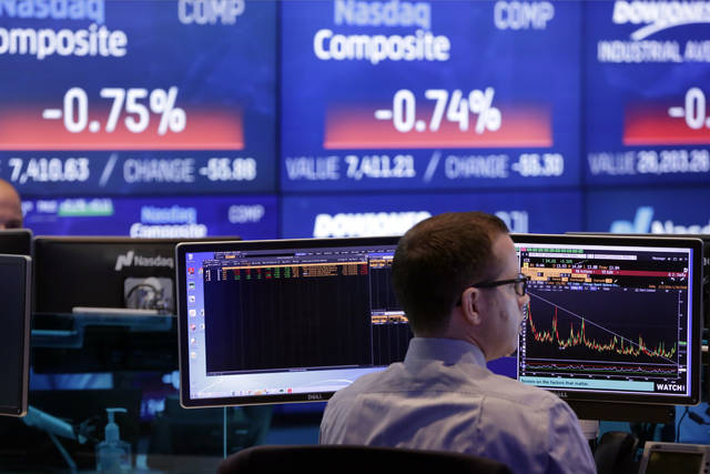 A Nasdaq employee works at the Nasdaq MarketSite, in New York, Tuesday Jan. 30, 2018. Health care stocks are leading U.S. indexes broadly lower in early trading following news of a big new venture in the health care business. (AP Photo/Richard Drew)