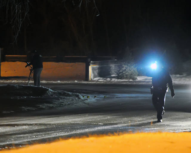 Shawnee Police responding to reports of shots being fired on Cam Court on Wednesday morning.  Richard Parrish | The Lima News