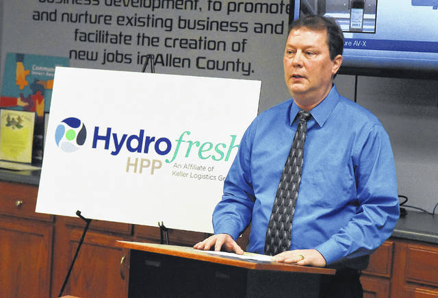 Don Klausing, president of Hydrofresh HPP, addresses the Allen Economic Development Group, after an announcement Monday morning that Hydrofresh HPP, an affiliate of Keller Logistics Group, is constructing a $10 million pasteurization plant in Delphos.