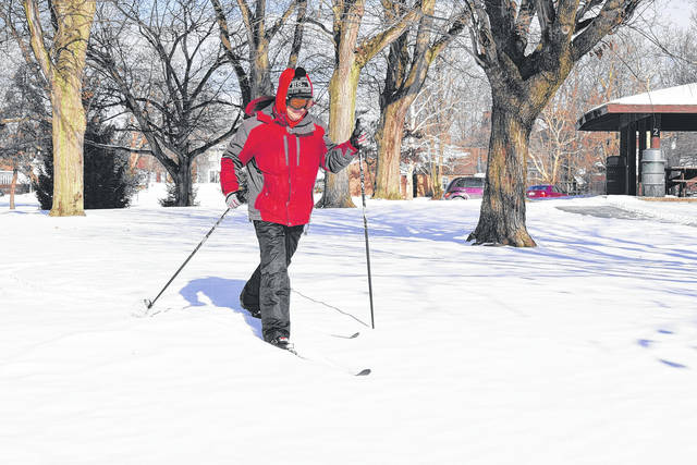 Vince DeLuca gets his exercise by cross country skiing at Faurot Park.