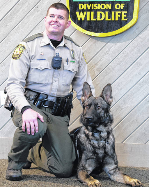 Ohio Department of Natural Resources Wildlife Division Officer Chris Gilkey and K-9 Officer Maddis, of ODNR District 4, are one of three initial K-9 units for the new ODNR Wildlife Division program. The dogs will be used to track lost hunters and hikers, as well as assisting in poaching and illegal activity in the harvesting of ginseng root.