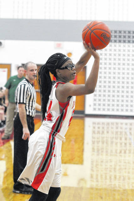 Lima Senior's Latoine Cowain puts up a shot during Thursday night's home game against Clay. See more game photos at LimaScores.com.