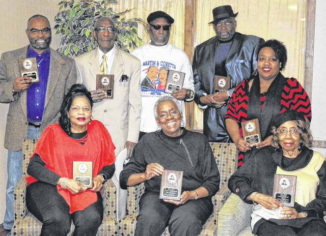 MLK Award Winners: Front row, from left, Sharon Downton, Willie Mae Lewis and Mary Jana Williamson. Back row, from left, Rev. Wayne Bradley, Major T. Gordon, Tom Jones, Otis Pearson and Kesha Drake.