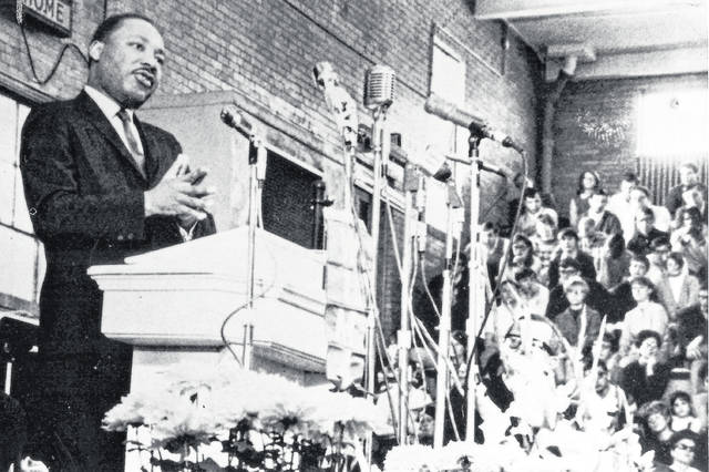 Rev. Martin Luther King Jr. addresses a crowd on the Ohio Northern University Campus Jan. 11, 1968.  Rev. Martin Luther King Jr. addresses a crowd on the Ohio Northern University Campus Jan. 11, 1968.
