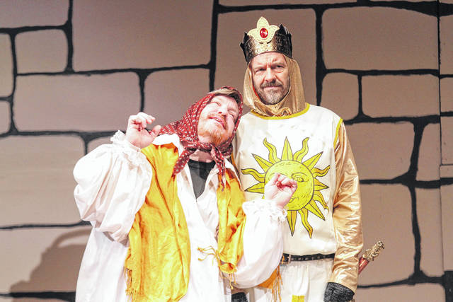 """Christopher Butturff (left) plays Dennis Galahad's mother alongside Drew Kantanen as King Arthur in Encore Theatre production of """"Spamalot"""" which opens tonight."""