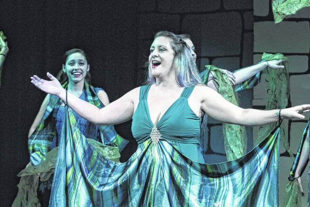 """Debbie Briggs stars as """"Lady of The Lake"""" in the Encore Theatre production of """"Spamalot."""""""