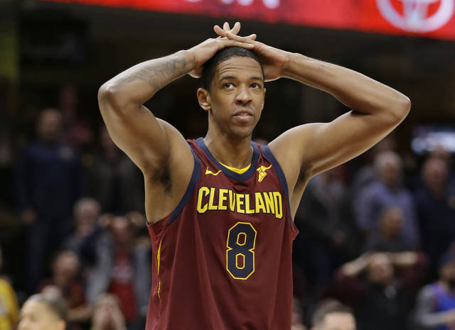 FILE - In this Nov. 5, 2017, file photo, Cleveland Cavaliers' Channing Frye reacts during an NBA basketball game against the Atlanta Hawks, in Cleveland. A person familiar with direct knowledge of the trade says the Cavaliers are dealing guard Isaiah Thomas to the Los Angeles Lakers. The person spoke to The Associated Press on condition of anonymity Thursday, Feb. 8, 2018, because the teams need NBA approval before the trade can be completed. The person adds that Cleveland is also sending forward Channing Frye and one of their two first-round draft picks to the Lakers for point guard Jordan Clarkson and forward Larry Nance Jr. (AP Photo/Tony Dejak, File)