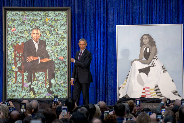 Official portraits of Obamas unveiled at National Portrait Gallery