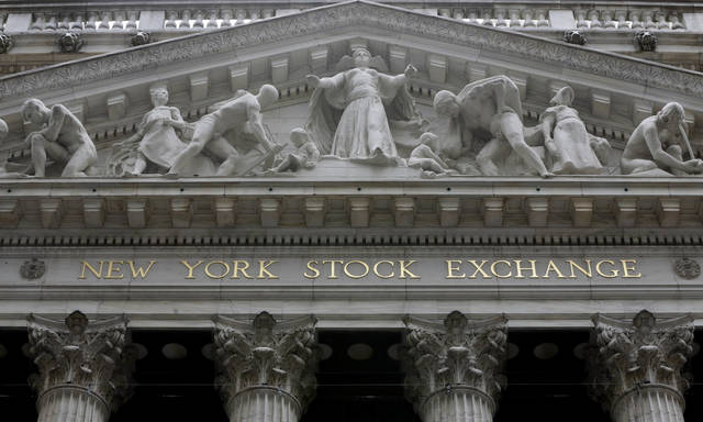 FILE - This Oct. 4, 2014, file photo, shows the facade of the New York Stock Exchange. The U.S. stock market opens at 9:30 a.m. EST on Monday, Feb. 26, 2018. (AP Photo/Richard Drew, File)