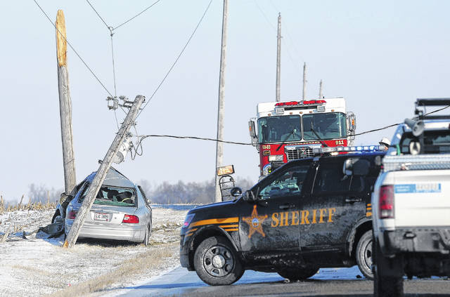 Harrod Fire and Rescue crews respond to the scene of a one-car crash into a utility pole around 9:30 a.m. Monday morning at 5505 South Phillips Road in Harrod.