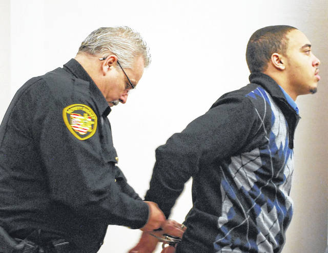 J Swygart | The Lima News  Cory Jackson was led from an Allen County courtroom late Wednesday afternoon after being found guilty of murder and aggravated robbery in the 2016 shooting death of Amari Gooding.