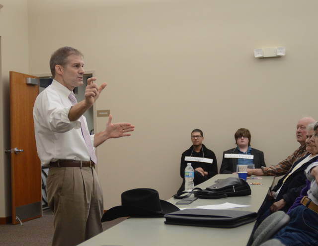 U.S. Rep. Jim Jordan (R-Urbana) offered his perspective on gun rights and other political topics at Tuesday's Allen County Patriots meeting.