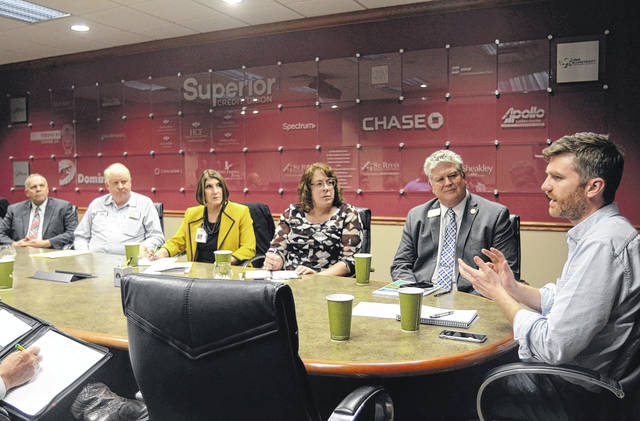 Ag Policy Advisor John McCracken speaks with area agriculture stakeholders at a roundtable Wednesday at the Lima/Allen County Chamber of Commerce. From left: Allen County Commissioner Jay Begg, Allen County Farm Bureau President Jim Hefner, West Ohio Food Bank CEO Linda Hamilton, Allen Soil and Water Conservation District Representative Beth Seibert, Chamber of Commerce President Jed Metzger and McCracken.