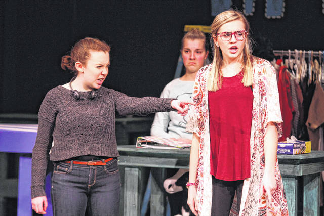 """Kaylee Riggs, left, acts alongside Madison Downing in the Encore Theatre's production of """"The Rehearsal.""""."""