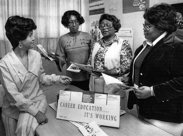 Joyce Garrett, from left, Annie Mae Banks, Nathzollo Gurley and Lessie Cochran planning a Hy-Ho Club event in this undated photo.