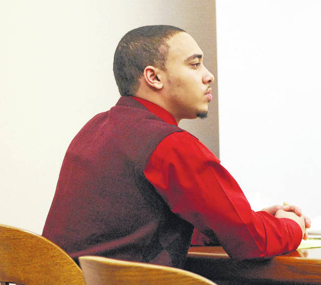Lima resident Cory Jackson listens to proceedings in his murder trial Tuesday in Allen County Common Pleas Court. Jackson is charged in the October 2016 shooting death of Amari Gooding in the parking lot of the Main Street Irish Pub in downtown Lima.