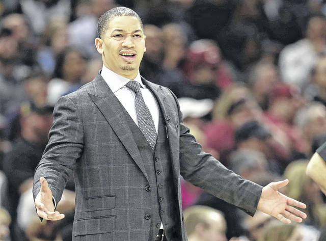 Cleveland Cavaliers head coach Tyronn Lue reacts during a game earlier this season against the Oklahoma City Thunder in Cleveland. A person with direct knowledge of the situation says the Cavaliers have no plans to fire Lue despite the team's troubling slide.