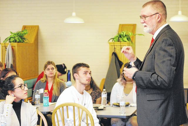 Dr. Bruce McPheron, a Kenton High School graduate and current provost at Ohio State University, visited Ohio State's Lima regional campus on Thursday.