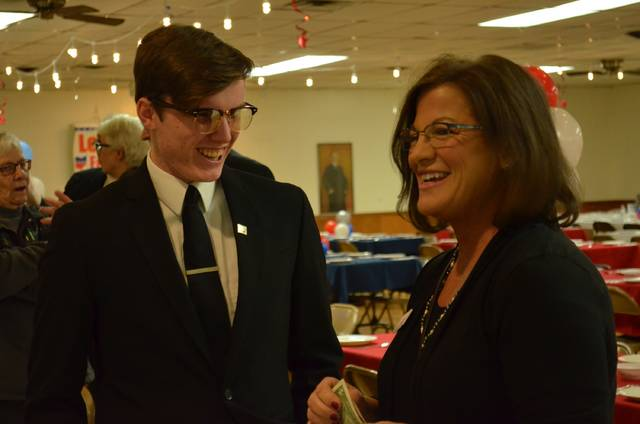 """Janet Breneman, Democratic candidate for the 81st Ohio House District, and Aden Baker, Democratic candidate for the 82nd Ohio House District, chat while waiting for the """"Let's Get Fired Up For Ohio Democrats"""" event to begin Tuesday at the Kalida Knights of Columbus Hall."""