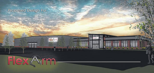 The rendering of the new Midwest Specialties facility which will house FlexArm Inc. and FlexDrill CNC. It's expected to break ground in late spring/early summer.