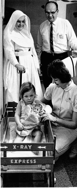 The pediatrics unit in the 1960s contained 33 beds and plenty to do to keep children from getting lonely.