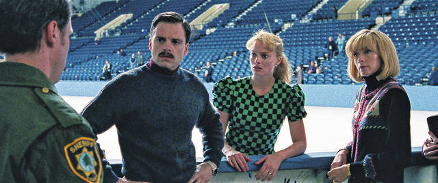 """This image released by Neon shows Sebastian Stan as Jeff Gillooly, from left, Margot Robbie as Tonya Harding and Julianne Nicholson as Diane Rawlinson in a scene from """"I, Tonya."""" Robbie was nominated for an Oscar for best actress on Tuesday, Jan. 23, 2018. The 90th Oscars will air live on ABC on Sunday, March 4."""