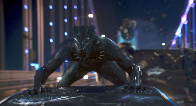 """This image released by Disney shows a scene from Marvel Studios' """"Black Panther."""" (Matt Kennedy/Marvel Studios-Disney via AP)"""