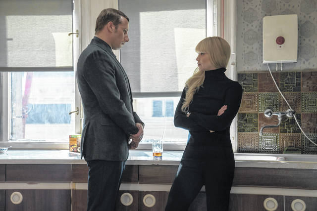"In this image released by Twentieth Century Fox, Matthias Schoenaerts, left, and Jennifer Lawrence appear in a scene from ""Red Sparrow."""