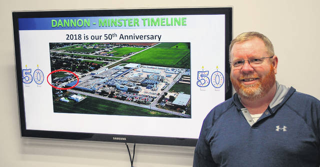 Joe Box, plant manager of the Dannon yogurt manufacturing facility in Minster, said the company is looking forward to celebrating its 50th year in the community this year. The company continues to grow, with plans to open two new lines later this year.