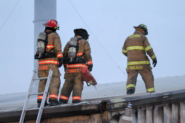 Fire broke out at 1601 Gessel Drive in Delphos on Monday evening around 4:43pm, local fire departments responded to the scene.   Levi A. Morman   The Lima News